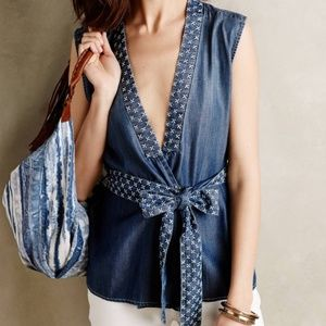 Anthropologie Holding Horses Stitched Chambray Top
